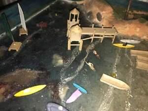 Ho 1/87 Scale Sea Lake Pier Set (wood)