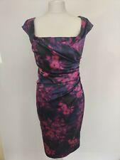 Coast Dress Alva Stretch Satin Wiggle Floral Print Black Pink Purple Wedding 10