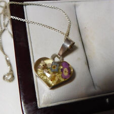 """Sterling Silver Dried Flower Heart Pendant 18"""" Box Chain Necklace 10h 89"""