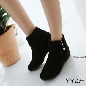 Womens summer round toe flat heel ankle boots faux suede wedges zippers Fashion