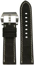 24mm RIOS1931 for Panatime Mocha Nubuck Gen Alligator Watch Band For Panerai