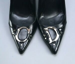 CHRISTIAN DIOR CD Black Leather Logo Heels Shoes Pumps Slides size 39