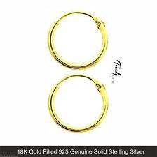 Women/Men 18K Yellow Gold Filled Genuine 925 Solid Silver Hoop Sleeper Earrings