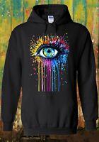 Rainbow Eye Art Drawing Hipster Cool Men Women Unisex Top Sweatshirt Hoodie 625