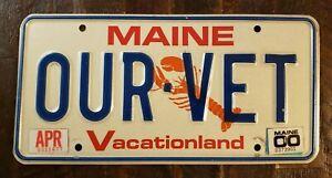 2000 MAINE Vacationland Lobster Vanity License Plate # OUR VET.  Corvette