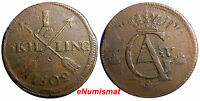 SWEDEN COPPER 1802  1 SKILLING OVERSTRUCK ON 2 ORE S.M. 1763 / FULL EARLY DATE /