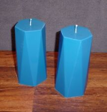 Pair of hexagon shaped blue paraffin and soy wax candles