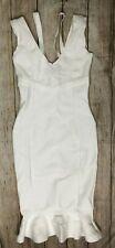 BCBG MaxAzria Bodycon Bandage V-NECK Fishtail Bottom White A438  *M