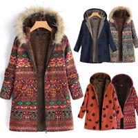 Women Winter Warm Outwear Dot Floral Print Wool Pockets Vintage Oversize Coats P