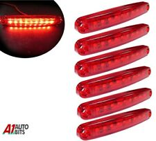 Six Red Super Bright 9 Diodes Slim Line Tail Marker Lamps Car Van Boat 100mm