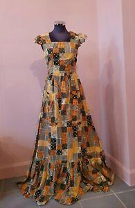 C1970's Vintage Rare Abbi York Cottagecore Liberty Print Patchwork Maxi Dress
