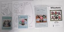 Owls! Lot of 4 Sewing / Quilt Patterns Hot Pads Place Mats Tea Cozy and Quilt