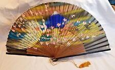 Vintage Hand Painted Paper Silk Fan Peacock Bird Mt. Fuji Japanese House