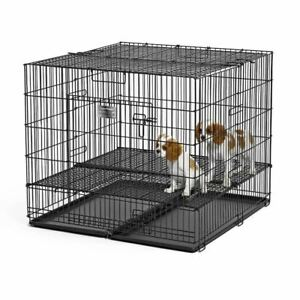 """Midwest Puppy Playpen with Plastic Pan and 1"""" Floor Grid Black 36"""" x 36"""" x 30"""""""