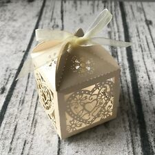 100 Vintage Ivory Love Heart Wedding Favour Box Candy Sweets Chocolate Gift Box