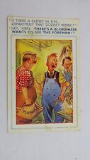 1957 Vintage Comic Postcard Plumber Engineering Works Foreman Lavatory Closet