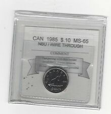 **1985 Wire Through** Coin Mart Graded Canadian,  10  Cent, **MS-65 NBU**