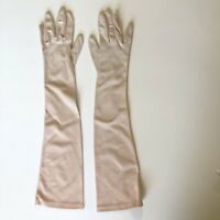 "Vintage Ladies Blush Nude Crescendoe Caresse Nylon 19"" Opera Gloves Size 6 1/2"