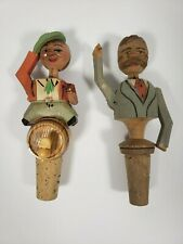 Vintage Anri Man Nodding and Tipping Hat Mechanical Carved Bottle Stoppers