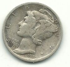 A VINTAGE BETTER GRADE 1940 S MERCURY SILVER DIME-OLD US COIN-MAR088