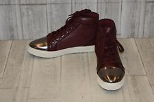 GUESS Boden Textured Faux Leather Hi Top Sneakers, Men's Size 9M, Dark Red