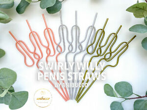 Rose Gold Bachelorette Party Penis Drinking Straws Supplies Decorations Favors