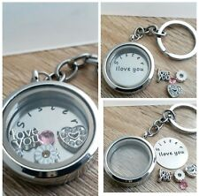 Gift for Sister Personalised Floating Memory Locket  Charms  Keyring
