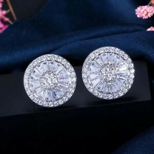 18K WHITE GOLD FILLED STUD EARRINGS MADE WITH  SWAROVSKI CRYSTALS GIFT WG