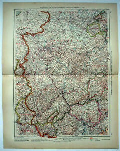 Rhineland & Westphalia, Germany - Original 1937 Map by Velhagen & Klasing