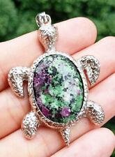 Red Green Jasper stone Sea Turtle Pendant Chakra Reiki Healing Amulet Energy