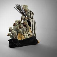 Antiguo Arte Popular anciana Nursery Rhyme Bordado estatua Muñeca cráneo caras