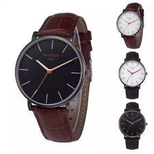 Reloj analógico para hombres Relojes de Pulsera Cuarzo Moda Regalo Correa De Cuero Negro Marrón