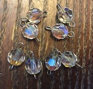 Vintage Clear AB Crystal Faceted Roundish Disco Bead Connectors Links Drops Lot