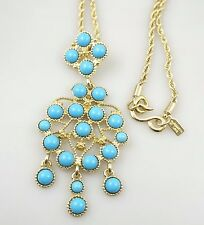 Kenneth Jay Lane KJL Turquoise Pendant Gold Tone Chain Vintage Necklace