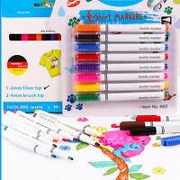 * 8pcs Clothes Textile Markers Fabric Pens Arts T-shirt Painting Pen DIY Set