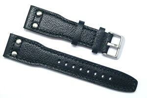 20 22 24mm Black or Brown Double Rivet Style Leather Watch Strap Silver Buckle