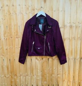 New Womens Studio Suedette Biker Jacket Burgundy Sz 14 (A3)