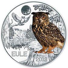 Österreich 3 Euro 2018 Eule Tiertaler Gedenkmünze handgehoben in Münzkapsel