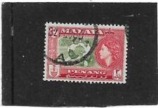 "PENANG 1957 $2 BRONZE-GREEN AND SCARLET  ""BERSILAT"" SG.53 FINE USED"
