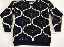 Womens Sweater Knitted Marisa Christina Classic Vtg Sz L Blue White Green
