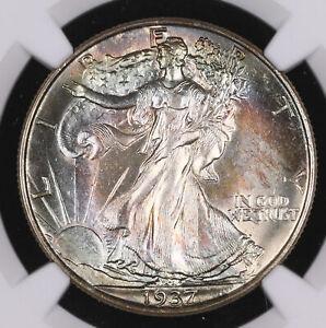 1937 WALKING LIBERTY SILVER HALF DOLLAR COIN **MONSTER TONING** NGC MS62