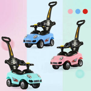 3 in 1 Ride on Push Car Safety Barrier Push Along Baby Kids Toddler Walker Toys