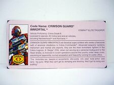 GI JOE CRIMSON GUARD IMMORTAL FILE CARD Vintage Figure Funskool GREAT SHAPE 1991