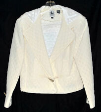 Emme Elle ML White Quitted Silk Womens Hooded Jacket with Toggle Clasp Size 6