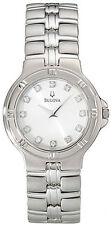 BULOVA DRESS WHITE DIAL DIAMONDS ACCENT STAINLESS STEEL MEN'S WATCH 96D04 NEW