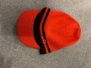 BOYS DESIGNER RED TIMBERLAND BEANY HAT WITH PEAK