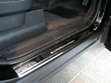 Chrome door tread plates with SUPERCHARGED text for Range Rover Sport step sill