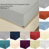 Luxury 200 Thread 100% Egyptian Cotton Plain Percale Fitted Bottom Sheets