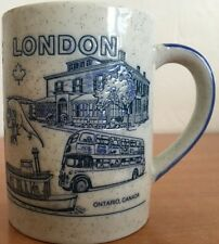 Mug London Canada Coffee Cup Ontario History Rare Embossed Gray Blue