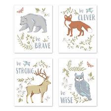 Blue Grey Brown Woodland Animal Toile 4p Nursery Wall Art Prints Room Decor